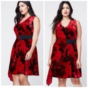 New $180 RACHEL Roy Draped Velvet Fit Flare Dress